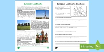 Europe Landmarks Reading Comprehension Activity - geography, continent