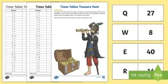 All Times Tables Treasure Hunt Activity - times tables, treasure