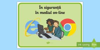 În siguranță în mediul on-line - Planșă  - Staying Safe Online Display Banner - ICT, IT, internet safety, abnner, e safety, esafety,Romanian