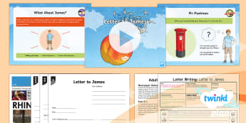PlanIt Y4 Explorers: James and the Giant Peach Lesson Pack Letter Writing 1 - Explorers: James and the Giant Peach, Letter Writing, London Zoo, rhinoceros, newspaper report, ramp