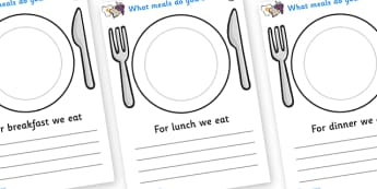 Meal Time Writing Templates A4 - meal time, writing frame, template, Lunchtime, dinner, breakfast, tea