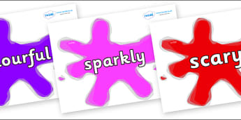 Wow Words on Splats - Wow words, adjectives, VCOP, describing, Wow, display, poster, wow display, tasty, scary, ugly, beautiful, colourful sharp, bouncy