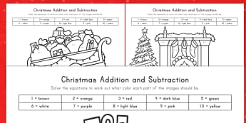 Christmas Addition and Subtraction to 10 Color by Number Activity Sheet - color by number, coloring, Christmas, addition, subtraction, art, math, worksheet