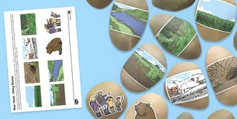 Bear Hunt Story Stone Image Cut Outs - bear hunt, story stone, image, cut outs