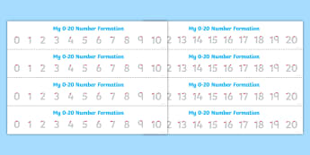 Number Formation Strips 0 to 20 - counting, numeracy, maths, count, overwriting
