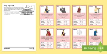 Ninja Top Cards Activity - substitute, substitution, ninjago, lego, algebra, samurai, Japan, feudal, ronin, top trumps, game, k