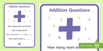 'Key Stage 1 Addition Questions Display Poster - Key Stage 1 Addition Questions Display Poster - Maths, Questions,adding,plus, adition, additon, addi