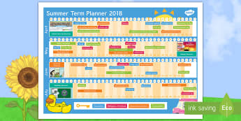 Summer Term 2018 Display Calendar - term 3, end of year, planner, planning, dates,