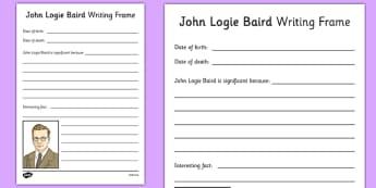 John Logie Baird Writing Frame - john logie baird, writing frame, writing, frame