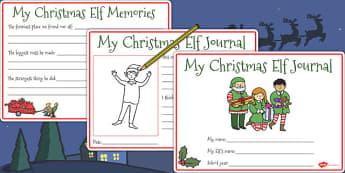 Christmas Elf Journal Writing Frames - christmas elf, journal, elf, christmas