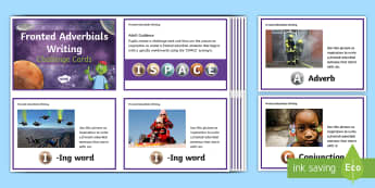 What Is a Fronted Adverbial? Fronted Adverbials Writing Challenge Cards - what is a fronted adverbial?, fronted adverbial, adverbials, ISPACE, openers, commas, fronted, subor