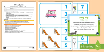 EYFS At the Park Number Recognition Busy Bag Plan and Resource Pack - EYFS Parks and Gardens, playgrounds, counting, number numeracy,