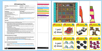 EYFS How Many Pairs Adult Input Plan and Resource Pack - The Elves and the Shoemaker, traditional tales, ICT, IT, UTW, technology, bee-bot, counting in 2s, e