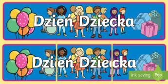 Banner na gazetkę Dzień Dziecka - dzień, dziecka, gazetka, czerwca, czerwiec, pierwszy, dzieci, ściana, ścienna,Polish