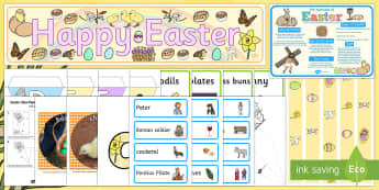 Happy Easter Discover and Learn Display Pack - KS1 Easter, easter display