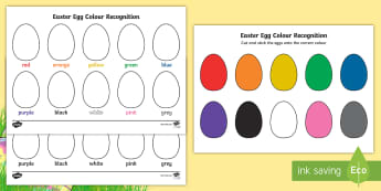 Easter Egg Colour Recognition Activity Sheets - EYFS, Early Years, KS1, Easter, Easter eggs, colours, colour recognition, colouring, matching game,