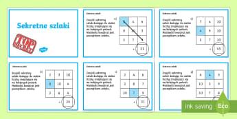 Karty Sekretne szlaki Dodawanie liczb - matematyka, suma, różnica, zagadka, zagadki, liczenie, dodaj, oblicz,