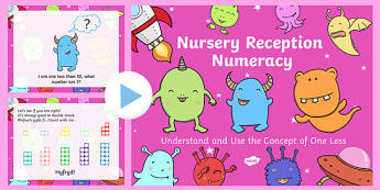 Nursery Reception Numeracy Understand and Use the Concept of One Less - welsh, cymraeg, Numeracy, One less, number line