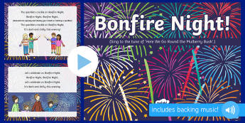 Bonfire Night Action Rhyme Song PowerPoint - EYFS, Early Years, Key Stage 1, KS1, bonfire night, fireworks night, rocket, sparkler, Guy Fawkes, c