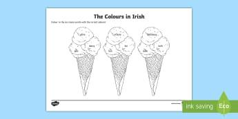 The Colours in Irish Read and Draw Activity Sheet  - World Around Us KS2 - Northern Ireland, Irish Language week, Irish, Ireland, Colours,