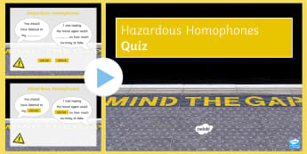 Hazardous Homophones List One PowerPoint Game - KS3, Spelling, SPAG, Homophone, language