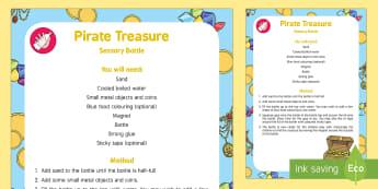 Pirate Treasure Sensory Bottle - Pirates, treasure, magnet, discovery bottle, coins, treasure, magnetic