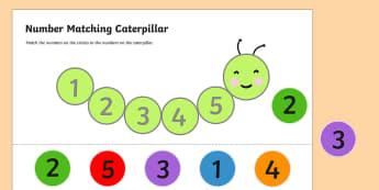 Number Matching Caterpillar Activity - number, match, caterpillar