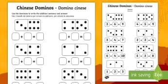 Chinese New Year Domino Addition Sheet English/Italian - addition sheet, chinese, +, adition, u=chinese new year, new yeAT, NEW YAR, new yeart, chinesenew ye
