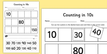 Counting in 10s Cut and Stick Activity Sheet - counting, count, cut and stick, activity, 10s, worksheet