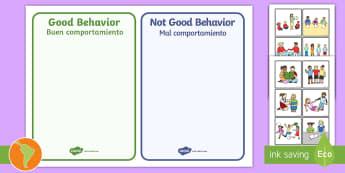Classroom Behaviour Sorting and Discussion Cards - US English/Spanish (Latin) - Classroom Behavior Sorting and Discussion Cards - classroom behavior, sorting, discussion, cards, sp
