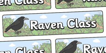 Raven Themed Classroom Display Banner - Themed banner, banner, display banner, Classroom labels, Area labels, Poster, Display, Areas