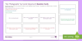 Question Cards to Support Teaching on 'War Photographer' by Carole Satyamurti - Imagery, poetry analysis, Carole Satyamurti, Edexcel Poetry, GCSE English Literature, Poetry Antholo