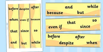 Conjunctions Display Borders - Connectives, VCOP, Conjunctions