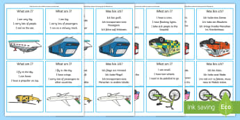 What Am I? Transport Guessing Game Cards English/German - Inferences, comprehension, semantic links, EAL, German, English-German,,German-translation