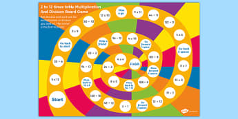 2 to 12 Times Table Multiplication and Division Board Game - times tables, multiplication, division