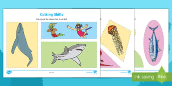 Ocean Life Cutting Skills Activity Sheets - Worksheets, Animals, Scissor Skills, Fine Motor