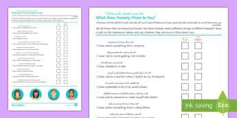 What Does Honesty Mean to You? Activity Sheet Arabic/English - Honesty, Honest, self reflection, PSHCE, self help, EAL, Arabic.,Arabic-translation