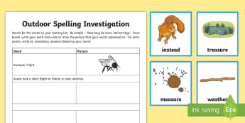 Spelling 'ea' (short e) Outdoor Activity Pack - CfE Outdoor Learning, nature, forest, woodland, playground, outdoor, game, spelling, grammar, senten
