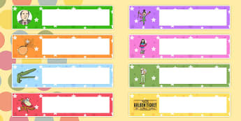 Roald Dahl Themed Gratnells Tray Labels - signs, labels, stories
