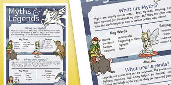 Myths and Legends Information Display Poster - myhts, legends, information, poster, display