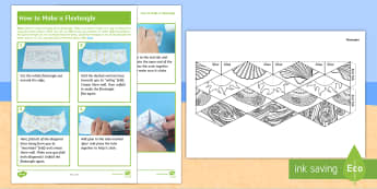 KS1 Seaside Flextangle Paper Craft - sea, patterns, year 1, year 2, cut, stick, 3D