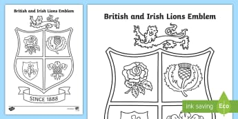 British and Irish Lions Emblem Colouring Page - Rugby, Rugby Union, New Zealand, 1888, Sports, Art, Fine Motor, Painting