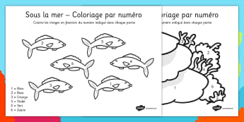 Sous la mer - Coloriage par numéro French - french, under the sea, colour, number