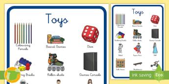 Póster DIN A4: Toys - juguetes, inglés, lengua extranjera, english, games, juegos, Spanish translation