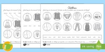 Ficha de actividad de atención a la diversidad: La ropa - Inglés - clothes, lengua extranjera, english, matching