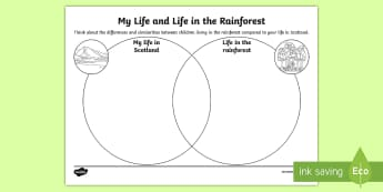 My Life and Life in the Rainforest Venn Diagram Activity Sheet - worksheet, compare, contrast, culture, geography, amazon, brazil, sorting