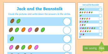 Jack and the Beanstalk Magic Bean Counting Sheet - jack and the beanstalk, 1-1, one to one, magic bean, counting, worksheet, counting sheet, themed worksheet, numbers