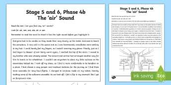 Northern Ireland Linguistic Phonics Stage 5 and 6, Phase 4b, 'air' Sound Text Activity Sheet - NI, Linguistic Phonics, Stage 5, Stage 6, Phase 4b, Northern Ireland, 'air' sound, sound search,