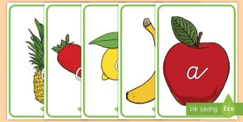 Das Alphabet auf Früchten Poster für die Klassenraumgestaltung - Das Alphabet auf Früchten Poster für die Klassenraumgestaltung, Alphabet, Das Alphabet, Alphabet P