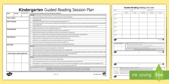 Kindergarten Australian Curriculum Guided Reading Session Planning Template - guided reading session, language, literacy, literature, kindergarten, early stage 1, english, austra